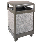 Rubbermaid R48HT Aspen Hinged-Top Architectural Bronze with Glacier Gray Stone Panels Square Steel Waste Receptacle with Rigid Plastic Liner 48 Gallon (FGR48HT6000PL)