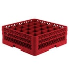 Vollrath TR6BA Traex Full-Size Red 25-Compartment 6 3/8 inch Glass Rack with Open Rack Extender On Top