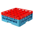 Carlisle RG25-2C410 OptiClean 25 Compartment Glass Rack with 2 Color-Coded Extenders - Red / Carlisle Blue