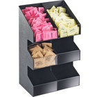 Cal-Mil 2054 Classic Three Tier Double Wide Black Condiment Display with Clear Bin Fronts - 10 1/4