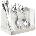 Cal-Mil 3015-55 Luxe White Metal Three Compartment Flatware Organizer with Stainless Steel Base and Acrylic Dividers - 8 1/4 inch x 5 3/4 inch x 6 inch