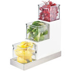 Cal-Mil 3003-55-15 Luxe Three Tier 4 inch Melamine Jar Display with White Metal Frame and Stainless Steel Accent - 4 1/2 inch x 12 1/4 inch x 9 inch