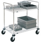 Metro 2SPN43ABR Super Erecta Brite Two Shelf Heavy Duty Utility Cart with Rubber Casters - 21 inch x 36 inch x 39 inch