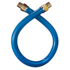 Dormont 16100BP48 Blue Hose Stainless Steel Moveable Foodservice Gas Connector - 48 inch x 1 inch