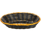 9 inch x 6 inch Oval Black and Gold Rattan Basket