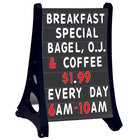 Aarco Roll A-Frame Two Sided Black Letterboard with Stand and Characters - 24