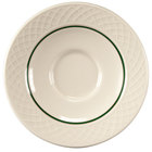 Homer Laughlin 1430-0328 Green Jade Gothic Off White 4 1/2 inch China Saucer - 36/Case