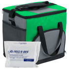 Choice Insulated Cooler Bag / Soft Cooler, Green Nylon 12 inch x 9 inch x 11 1/2 inch, with Foam Freeze Pack Kit
