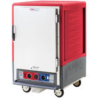 Metro C535-CLFS-4 C5 3 Series Insulated Low Wattage Half Size Heated Holding and Proofing Cabinet with Fixed Wire Slides and Solid Door - Red