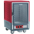 Metro C535-HLFC-U C5 3 Series Insulated Low Wattage Half Size Heated Holding Cabinet with Universal Wire Slides and Clear Door - Red