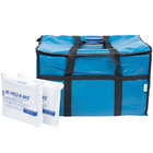 Choice Soft Sided 23 inch x 13 inch x 15 inch Blue Insulated Vinyl Food Delivery Bag / Pan Carrier with Foam Freeze Pack Kit