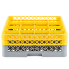 Noble Products 16-Compartment Gray Full-Size Glass Rack with 2 Yellow Extenders - 19 3/8