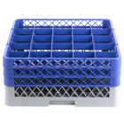 Noble Products 25-Compartment Gray Full-Size Glass Rack with 3 Blue Extenders - 19 3/8