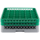 Noble Products 36-Compartment Gray Full-Size Glass Rack with 2 Green Extenders - 19 3/8