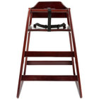 Stacking Restaurant Wood High Chair with Dark Brown Finish - Assembled