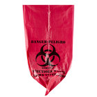 10 Gallon 24 inch X 24 inch Red Isolation Infectious Waste Bag / Biohazard Bag High Density 12 Microns - 1000/Case