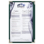 Menu Solutions RS33D GN SLV Royal 8 1/2 inch x 14 inch Single Panel / Two View Green Menu Board with Silver Corners