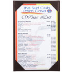 Menu Solutions K111A BROWN The Kearny Series 5 1/2 inch x 8 1/2 inch Single Panel / Double-Sided Brown Menu Board
