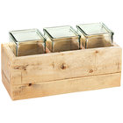 Cal-Mil 3406-6 Vintage 6 inch Wooden Box Display with 3 Glass Jars