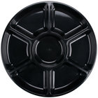 Fineline Platter Pleasers 3509-BK 18 inch 7 Compartment Black Polystyrene Deli / Catering Tray