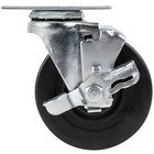 4 inch Swivel Plate Caster with Brake - 115 lb. Capacity