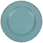 Elite Global Solutions D850T Trestles Vintage California 8 1/2 inch Cameo Blue Round Double-Line Melamine Plate
