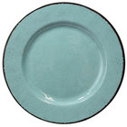 Elite Global Solutions D850M Mojave Vintage California 8 1/2 inch Cameo Blue Round Crackle Melamine Plate