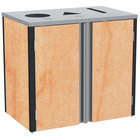 Lakeside 3415 Stainless Steel Refuse / Recycle / Paper Station with Top Access and Hard Rock Maple Laminate Finish - 37 1/2