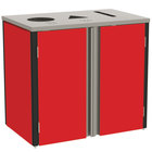 Lakeside 3415 Stainless Steel Refuse / Recycle / Paper Station with Top Access and Red Laminate Finish - 37 1/2