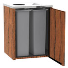 Lakeside 3412 Stainless Steel Refuse / Recycling Station with Top Access and Victorian Cherry Laminate Finish - 26 1/2