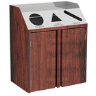 Lakeside 4415 Stainless Steel Refuse / Recycle / Paper Station with Front Access and Red Maple Laminate Finish - 37 1/2 inch x 23 1/4 inch x 45 1/2 inch