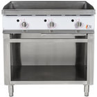 Cooking Performance Group G36T 36 inch Gas Griddle with Thermostatic Controls and Cabinet Base - 90,000 BTU