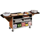 Lakeside 676 Stainless Steel Drop-Leaf Beverage Service Cart with 3 Shelves and Light Maple Laminate Finish - 61 3/4 inch x 24 inch x 38 1/4 inch
