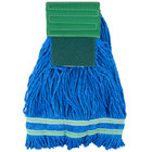 Small 15 oz. Microfiber String Mop with Scrubber and 5 inch Band - Green