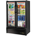True GDM-36SL-LD Slim Line Black Glass Swing Door Merchandiser Refrigerator with LED Lighting