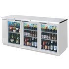 Beverage-Air BB72GSY-1-S-PT-LED 72 inch Stainless Steel Glass Door Pass-Through Back Bar Refrigerator