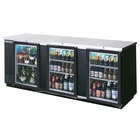 Beverage-Air BB72GSY-1-B-27-PT-LED 72 inch Black Glass Door Pass-Through Back Bar Refrigerator with 2 inch Stainless Steel Top