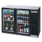 Beverage-Air BB48GY-1-B-27-PT-LED 48 inch Black Glass Door Pass-Through Back Bar Refrigerator with 2 inch Stainless Steel Top