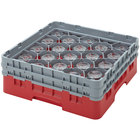 "Cambro 16S534163 Camrack 6 1/8"" High Red 16 Compartment Glass Rack"