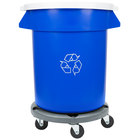 20 Gallon Blue Recycling Trash Can, Lid, and Dolly Kit