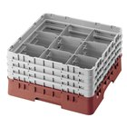 "Cambro 9S638416 Cranberry Camrack 9 Compartment 6 7/8"" Glass Rack"