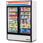 True GDM-49F-HC-LD White Glass Door Merchandiser Freezer with LED Lighting