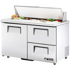 True TSSU-48-12D-2 48 inch One Door, Two Drawer Sandwich / Salad Prep Refrigerator - Twelve Pans