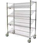Eagle Group M1836C-4 36 inch x 18 inch Chrome 4 Shelf Angled Merchandising Cart
