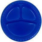 Creative Converting 319032 10 inch 3 Compartment Cobalt Blue Plastic Plate - 200/Case