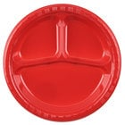 Creative Converting 019548 10 inch 3 Compartment Classic Red Plastic Banquet Plate - 20 / Pack