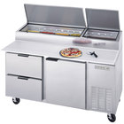 Beverage Air DPD67-2 67 inch Pizza Prep Table with One Door and Two Drawers