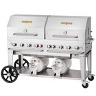 Crown Verity CCB-60RDP 60 inch Outdoor Club Grill with 2 Horizontal Propane Tanks and Roll Dome Package