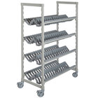 Cambro Camshelving Premium CPMU244875PDPKG Speckled Gray Angled Drying Rack Cart - 24 inch x 48 inch x 75 inch