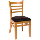 BFM Seating LWC101NTBLV Burlington Natural Colored Beechwood Side Chair with 2 inch Black Vinyl Seat